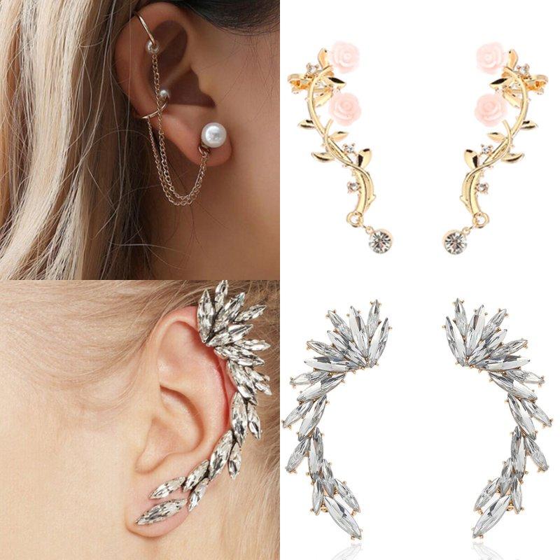 Women Round Earrings Crystal Bling Rhinestones Ear Hoop Stud Jewelry Gift