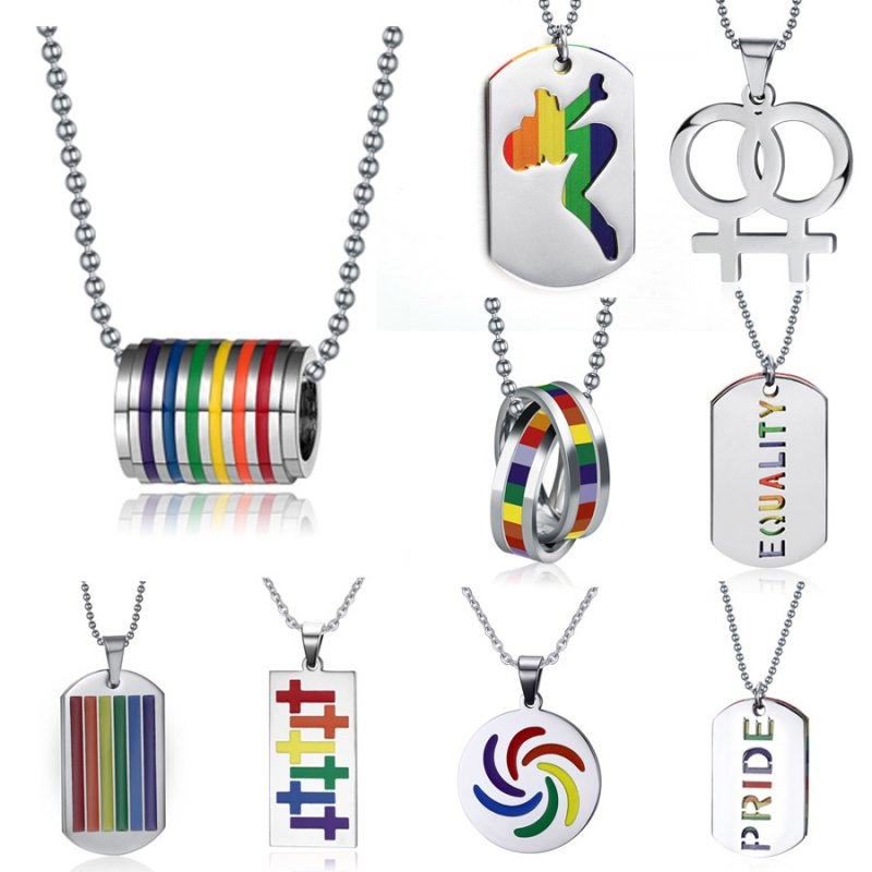 2Pcs Stainless Steel Gay Flag Pendant LGBT Lesbian Necklace Chain Jewelry
