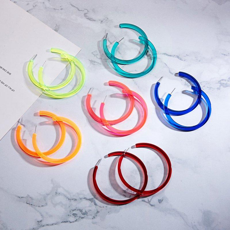Fashion Women Big Ring Fluorescence Earrings Acrylic Ear Dangle Stud Jewelry NEW