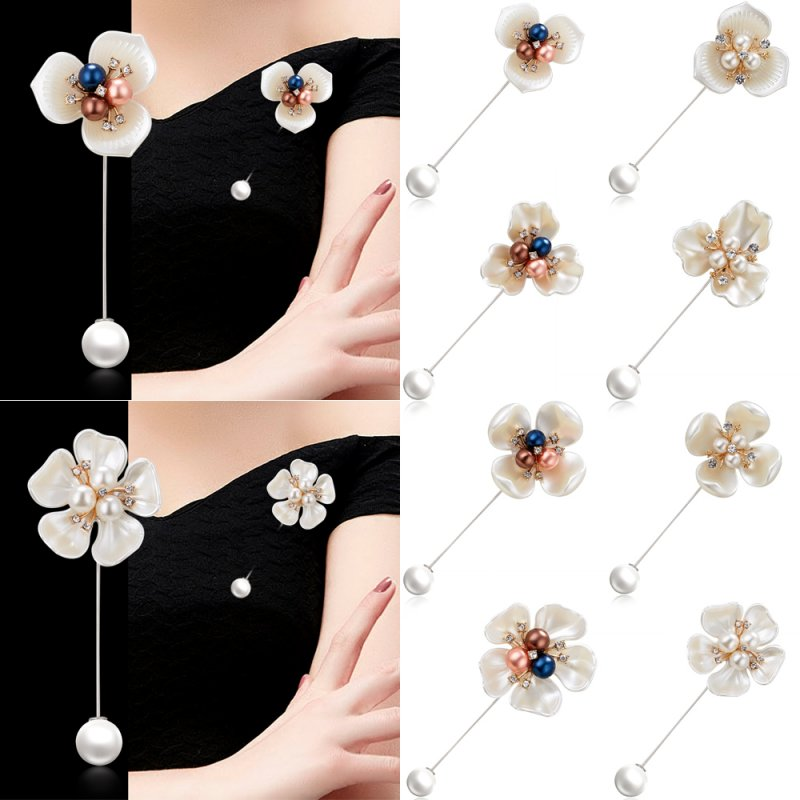 995c24d1240 Details about Women White Flower Camellia Shell Pearl Crystal Scarf Clothes  Shawl Brooch Pin