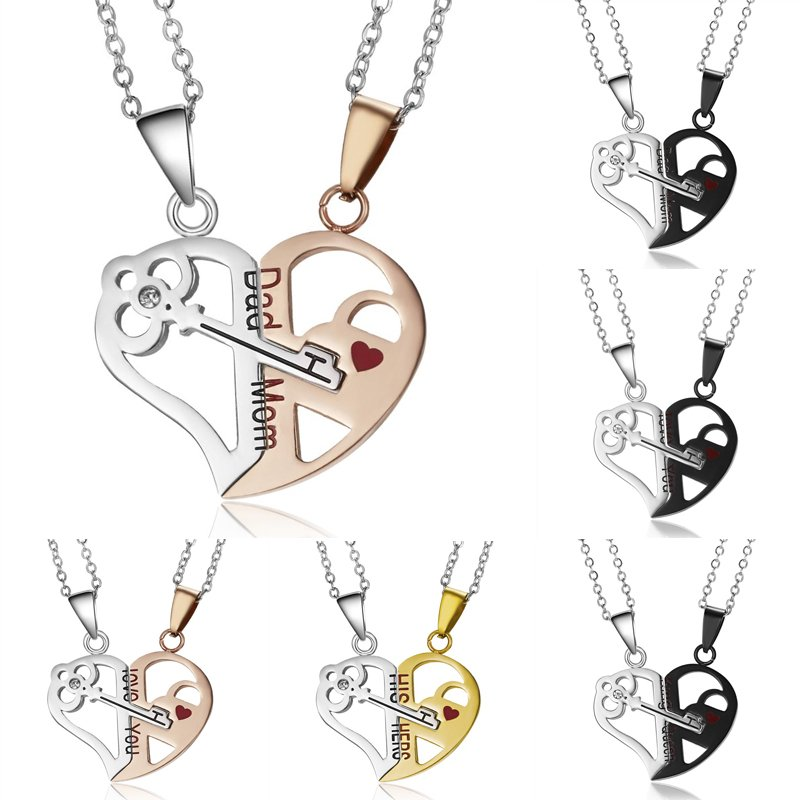 e9ad660ed8 Details about Couple Stainless Steel 2Pcs Heart Key Pendant Necklace Dad  Mom Women Men Jewelry
