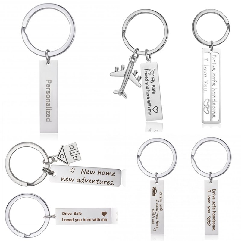 adf5a12ca8911 Details about Stainless Steel Drive Safe Personalized Custom Name Date Love  Keychain Key Chain