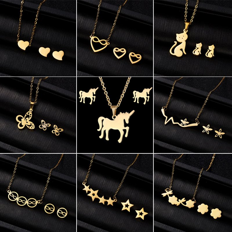 Gold Stainless Steel Butterfly Jewelry Set Women Pendant Necklace Earrings Gift