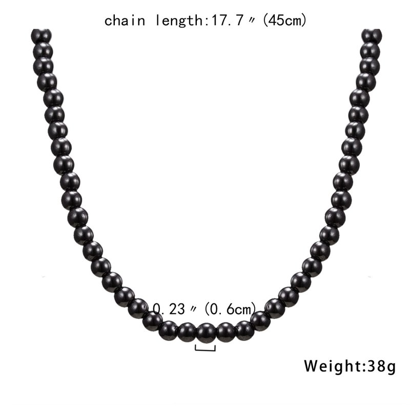 6mm Magnetic Hematite Black Beads Health Necklaces Vintage