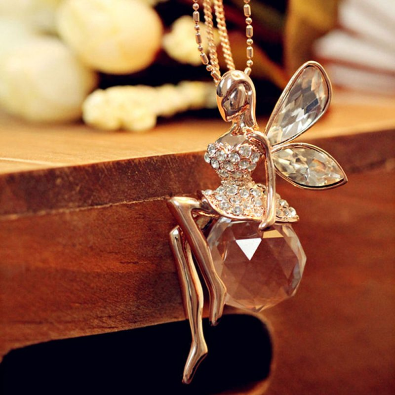 Women Crystal Fairy Angel Wing Pendant Long Chain Sweater Necklace Xmas Gift 1PC