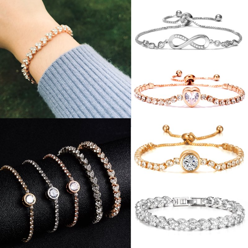Gold Women CZ Crystal Zircon Love Heart Bangle Cuff Adjustable Bracelet Jewelry