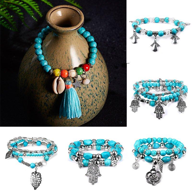 Elegant Jewelry Women Lady Charm Cuff For Bangle Bracelet Adjustable Turquoise