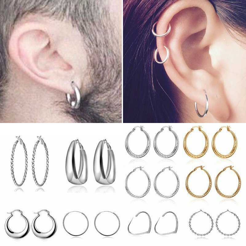 Monrocco 12 Pair Silver Big Circle Hoop Earrings Set for Women Girls Party Accessory
