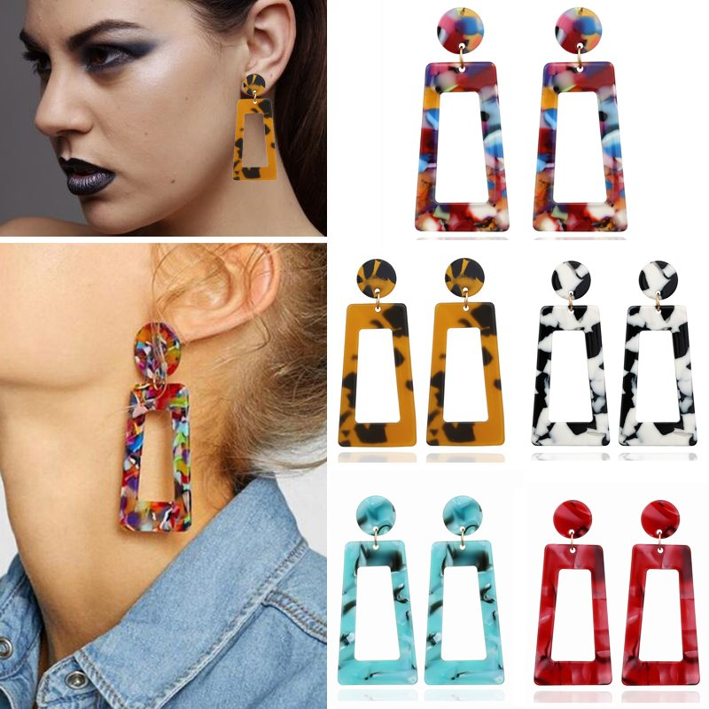 Women Girls Acrylic Resin Drop Hoop Earrings Alloy Bohemia Geometric Beads Dangle Earrings