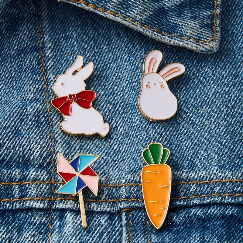 Details about Rabbit Brooch Pin Bunny Carrot Women Coat Shirt Bag Jackets Collar Lapel Badge