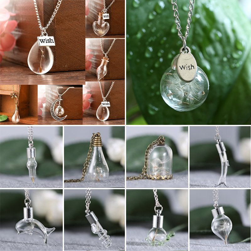 Chic ANCHOR Lady Real Dandelion Seeds Lucky Glass Bottle Chain Necklace Pendant