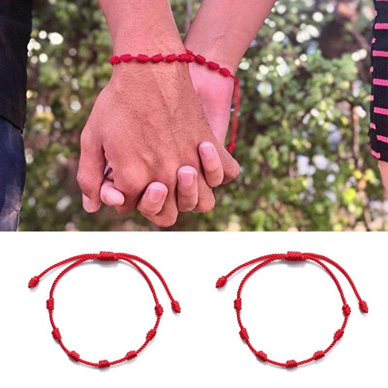 2pcs Lucky Red String bracelet Kabbalah Amulet 7 Knots Protection Rope Unisex