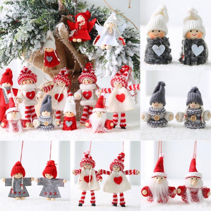 2 Pcs Set Angel Santa Claus Hanging Dolls Decorations Christmas Tree Ornament Ebay